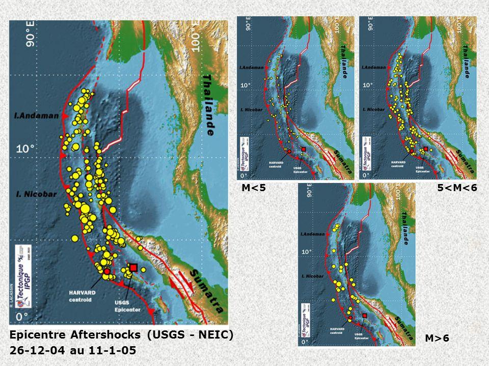 Cartes aftershocks Epicentre Aftershocks (USGS - NEIC) 26-12-04 au 11-1-05 M<55<M<6 M>6
