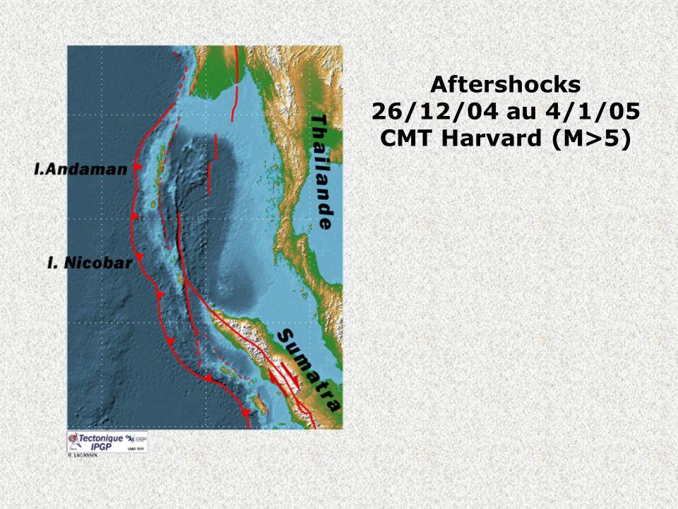 Aftershocks 26/12/04 au 4/1/05 CMT Harvard (M>5)