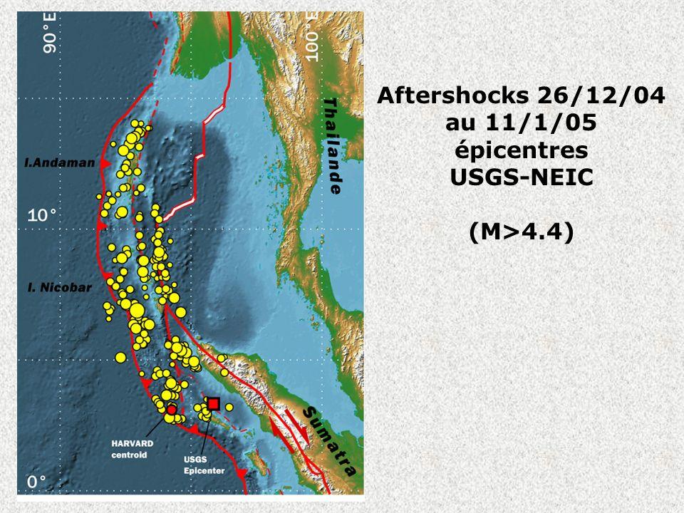 Aftershocks 26/12/04 au 11/1/05 épicentres USGS-NEIC (M>4.4)