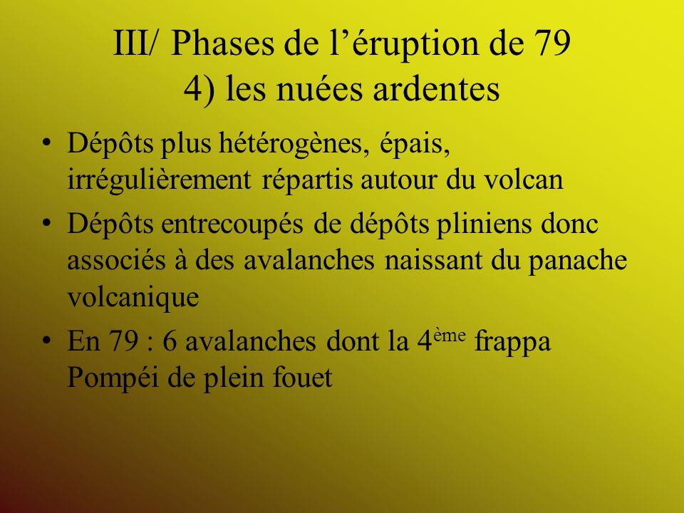 III/ Phases de léruption de 79 4) les nuées ardentes Dépôts plus hétérogènes, épais, irrégulièrement répartis autour du volcan Dépôts entrecoupés de d