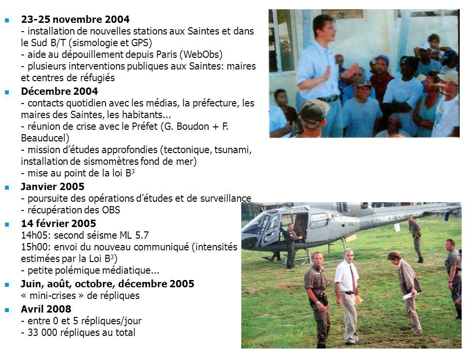 23-25 novembre 2004 - installation de nouvelles stations aux Saintes et dans le Sud B/T (sismologie et GPS) - aide au dépouillement depuis Paris (WebObs) - plusieurs interventions publiques aux Saintes: maires et centres de réfugiés Décembre 2004 - contacts quotidien avec les médias, la préfecture, les maires des Saintes, les habitants...