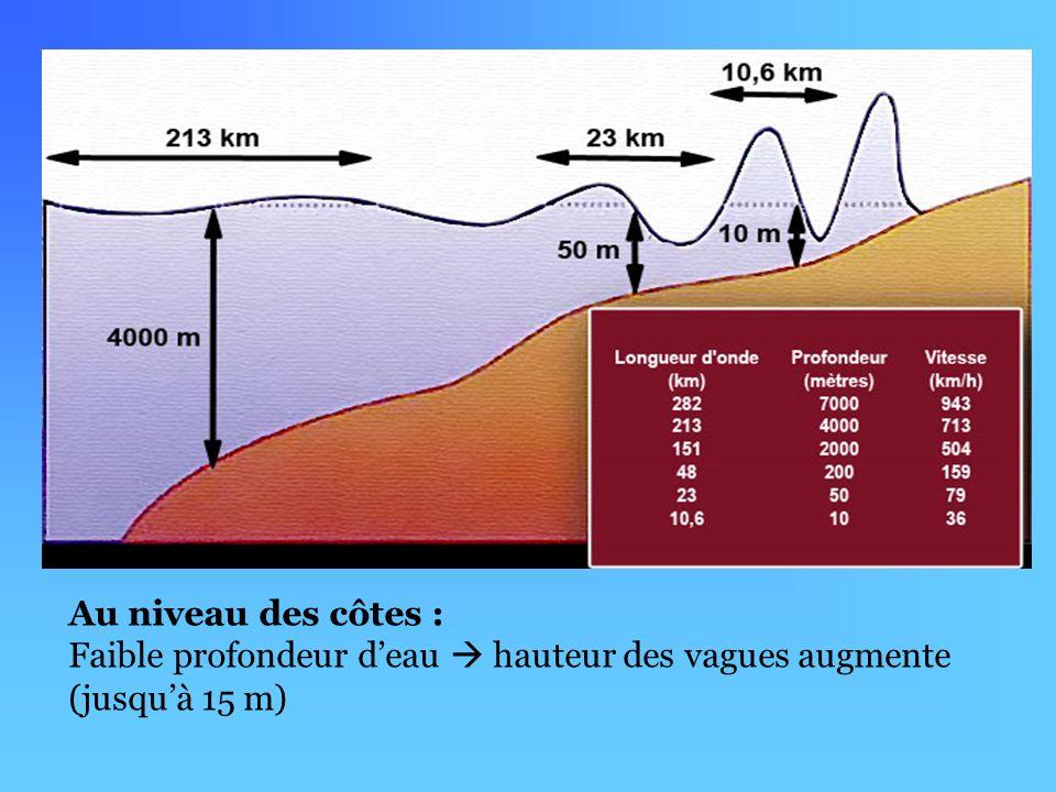 Au niveau des côtes : Faible profondeur deau hauteur des vagues augmente (jusquà 15 m)