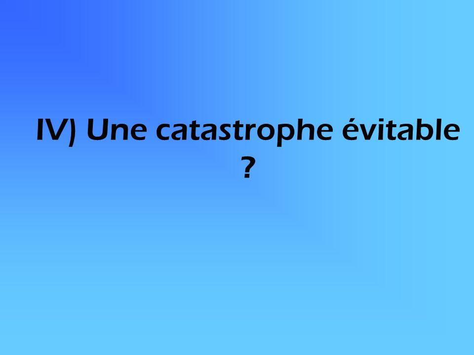 IV) Une catastrophe évitable ?