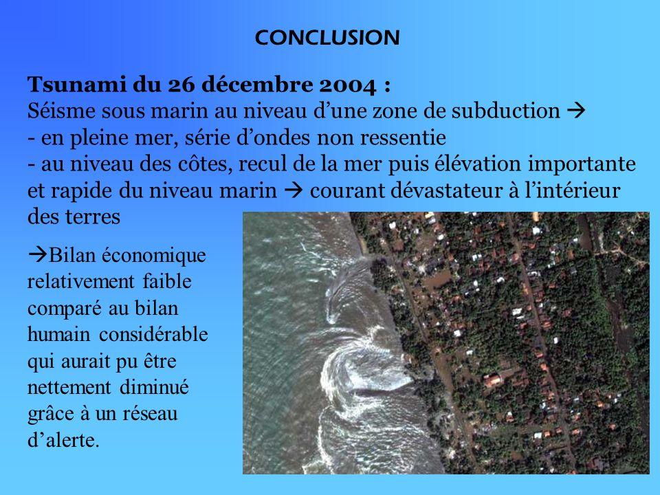 CONCLUSION Tsunami du 26 décembre 2004 : Séisme sous marin au niveau dune zone de subduction - en pleine mer, série dondes non ressentie - au niveau des côtes, recul de la mer puis élévation importante et rapide du niveau marin courant dévastateur à lintérieur des terres Bilan économique relativement faible comparé au bilan humain considérable qui aurait pu être nettement diminué grâce à un réseau dalerte.