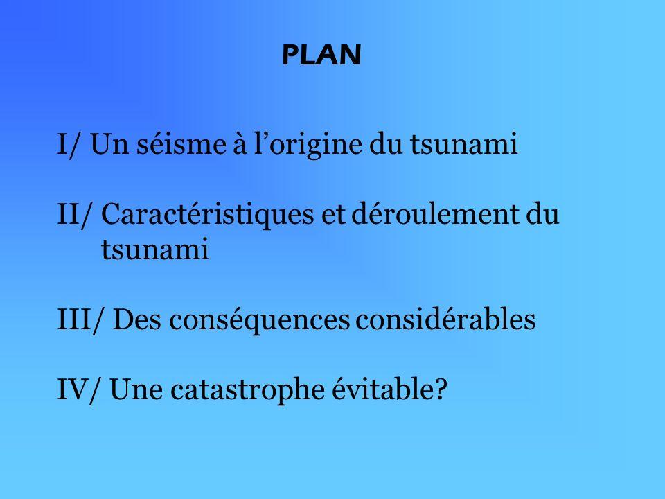 I/ Un séisme à lorigine du tsunami II/ Caractéristiques et déroulement du tsunami III/ Des conséquences considérables IV/ Une catastrophe évitable.