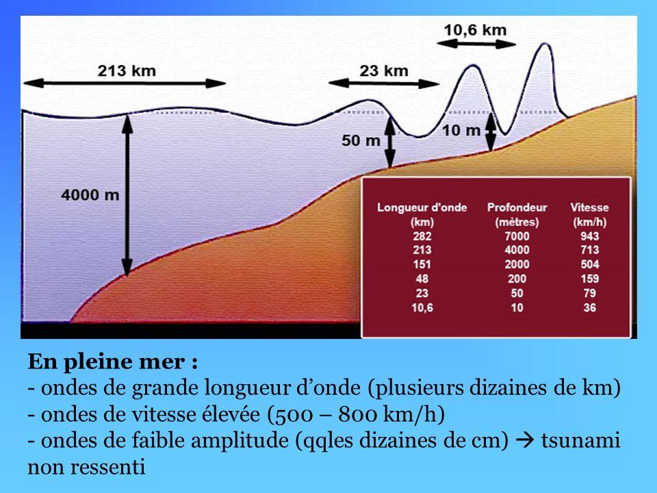 En pleine mer : - ondes de grande longueur donde (plusieurs dizaines de km) - ondes de vitesse élevée (500 – 800 km/h) - ondes de faible amplitude (qqles dizaines de cm) tsunami non ressenti