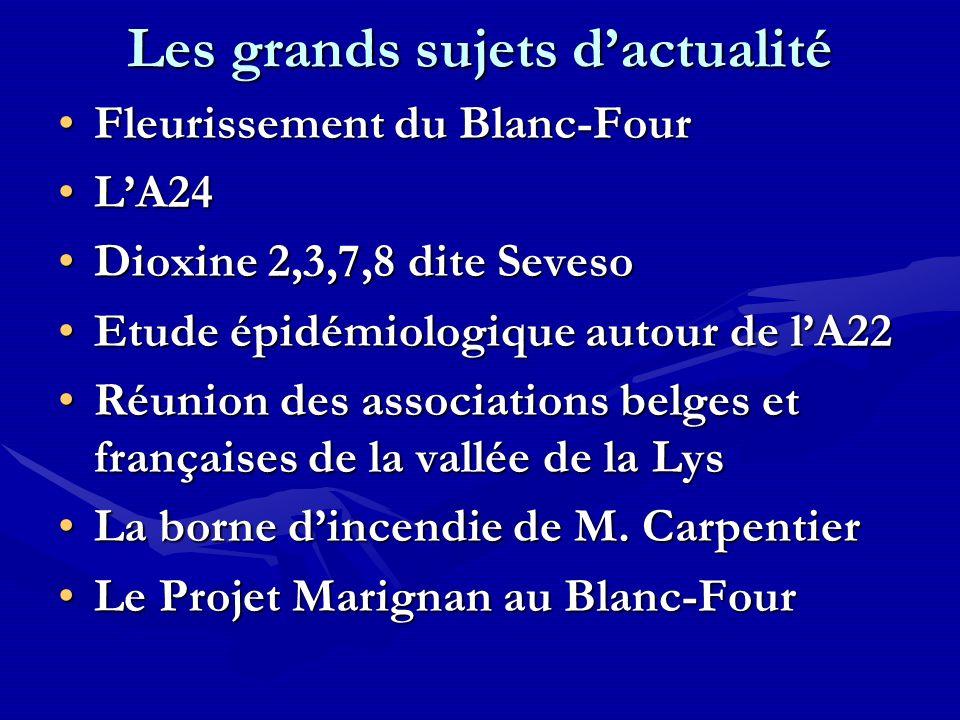 Les grands sujets dactualité Fleurissement du Blanc-FourFleurissement du Blanc-Four LA24LA24 Dioxine 2,3,7,8 dite SevesoDioxine 2,3,7,8 dite Seveso Et