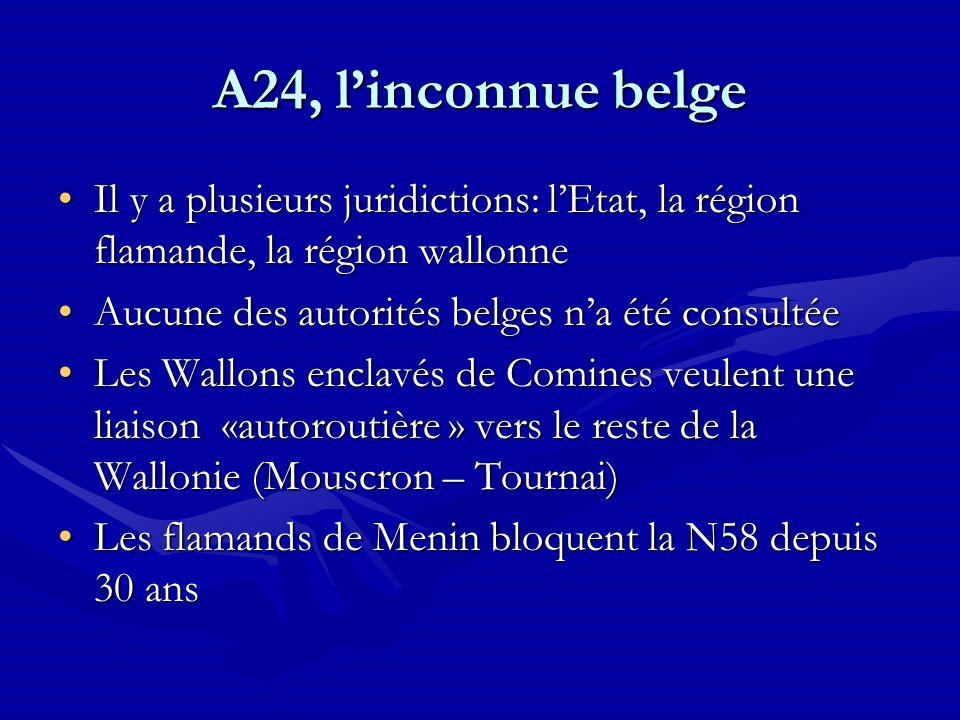 A24, linconnue belge Il y a plusieurs juridictions: lEtat, la région flamande, la région wallonneIl y a plusieurs juridictions: lEtat, la région flama
