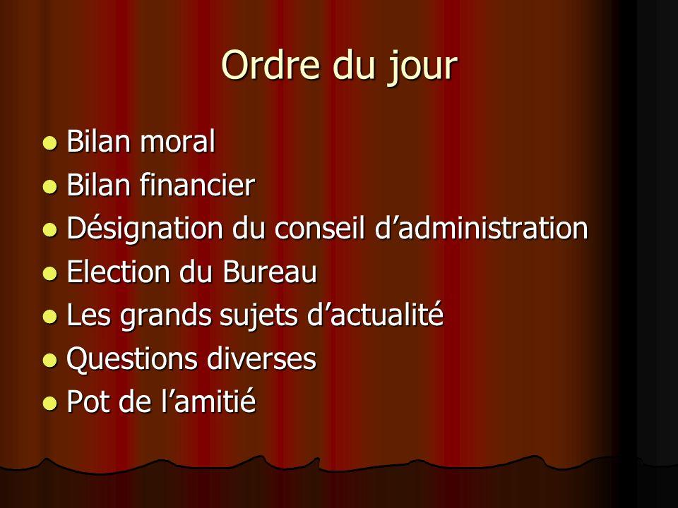 Ordre du jour Bilan moral Bilan moral Bilan financier Bilan financier Désignation du conseil dadministration Désignation du conseil dadministration El