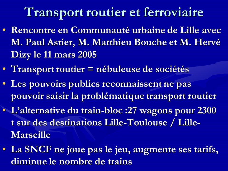 Transport routier et ferroviaire Rencontre en Communauté urbaine de Lille avec M. Paul Astier, M. Matthieu Bouche et M. Hervé Dizy le 11 mars 2005Renc