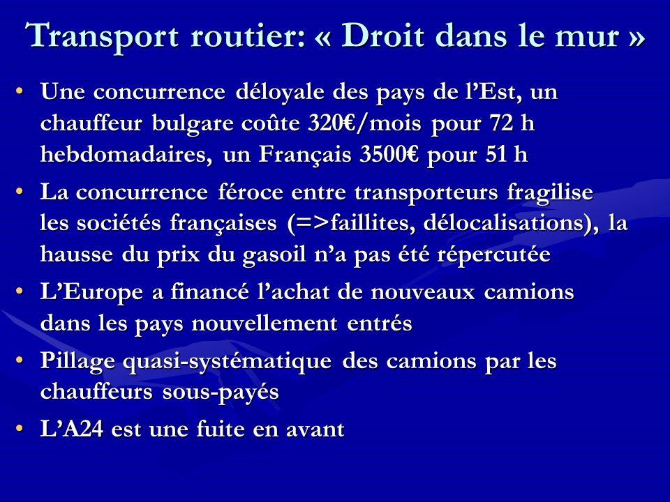 Une concurrence déloyale des pays de lEst, un chauffeur bulgare coûte 320/mois pour 72 h hebdomadaires, un Français 3500 pour 51 hUne concurrence délo