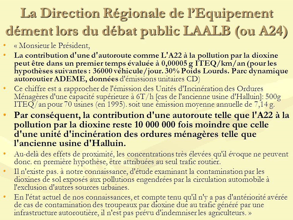 La Direction Régionale de lEquipement dément lors du débat public LAALB (ou A24) « Monsieur le Président,« Monsieur le Président, La contribution d'un