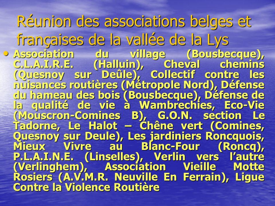 Réunion des associations belges et françaises de la vallée de la Lys Association du village (Bousbecque), C.L.A.I.R.E. (Halluin), Cheval chemins (Ques