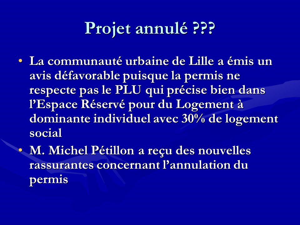 Projet annulé ??? La communauté urbaine de Lille a émis un avis défavorable puisque la permis ne respecte pas le PLU qui précise bien dans lEspace Rés