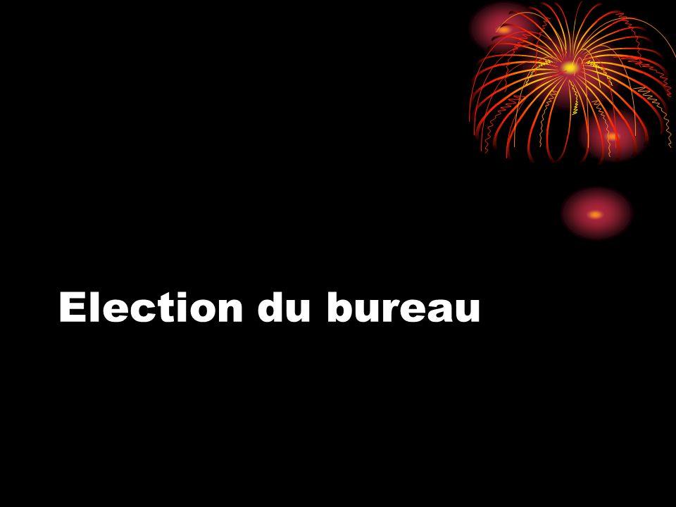 Résultat du vote Président: M.Hubert Laethem Trésorière: Mme Martine Desmarchelier Secrétaire: M.