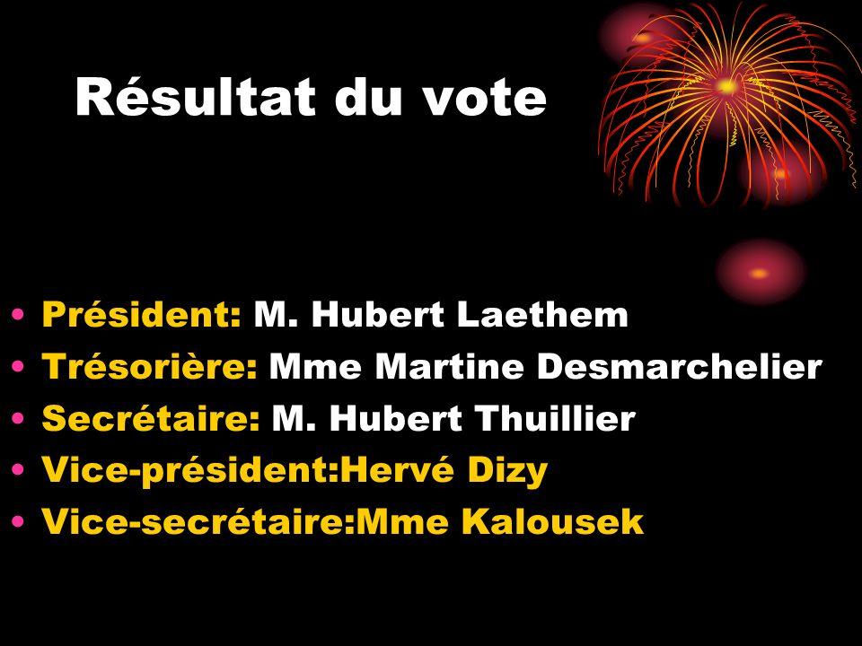 Résultat du vote Président: M. Hubert Laethem Trésorière: Mme Martine Desmarchelier Secrétaire: M. Hubert Thuillier Vice-président:Hervé Dizy Vice-sec