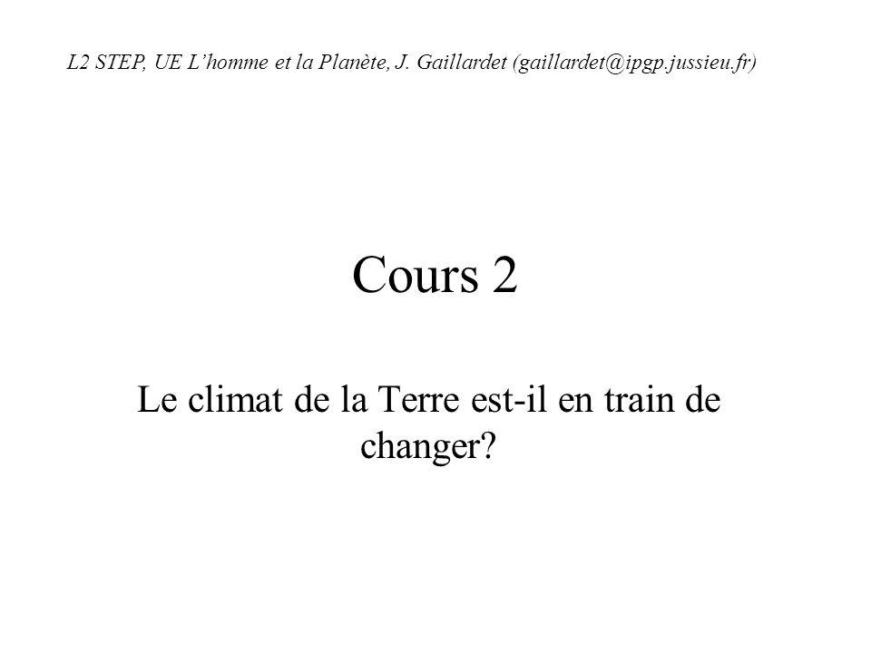 Cours 2 Le climat de la Terre est-il en train de changer? L2 STEP, UE Lhomme et la Planète, J. Gaillardet (gaillardet@ipgp.jussieu.fr)