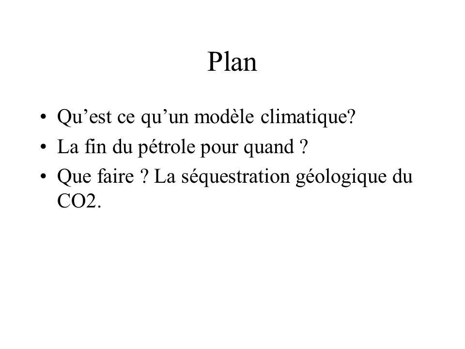 Plan Quest ce quun modèle climatique? La fin du pétrole pour quand ? Que faire ? La séquestration géologique du CO2.