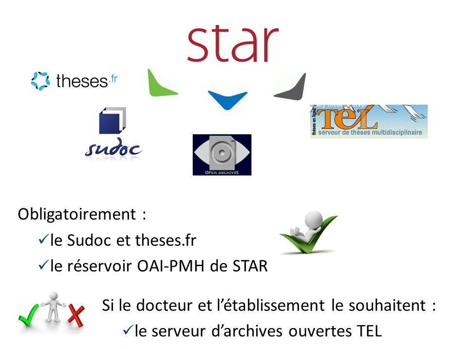 Obligatoirement : le Sudoc et theses.fr le réservoir OAI-PMH de STAR STAR Si le docteur et létablissement le souhaitent : le serveur darchives ouverte