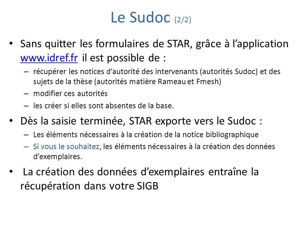Le Sudoc (2/2) Sans quitter les formulaires de STAR, grâce à lapplication www.idref.fr il est possible de : www.idref.fr – récupérer les notices dauto