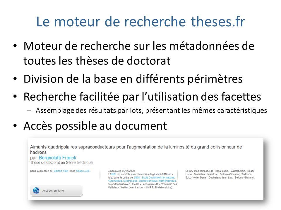 Le moteur de recherche theses.fr Moteur de recherche sur les métadonnées de toutes les thèses de doctorat Division de la base en différents périmètres