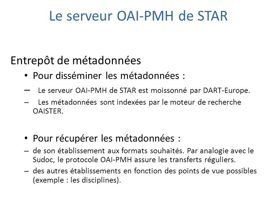 Le serveur OAI-PMH de STAR Entrepôt de métadonnées Pour disséminer les métadonnées : – Le serveur OAI-PMH de STAR est moissonné par DART-Europe. – Les