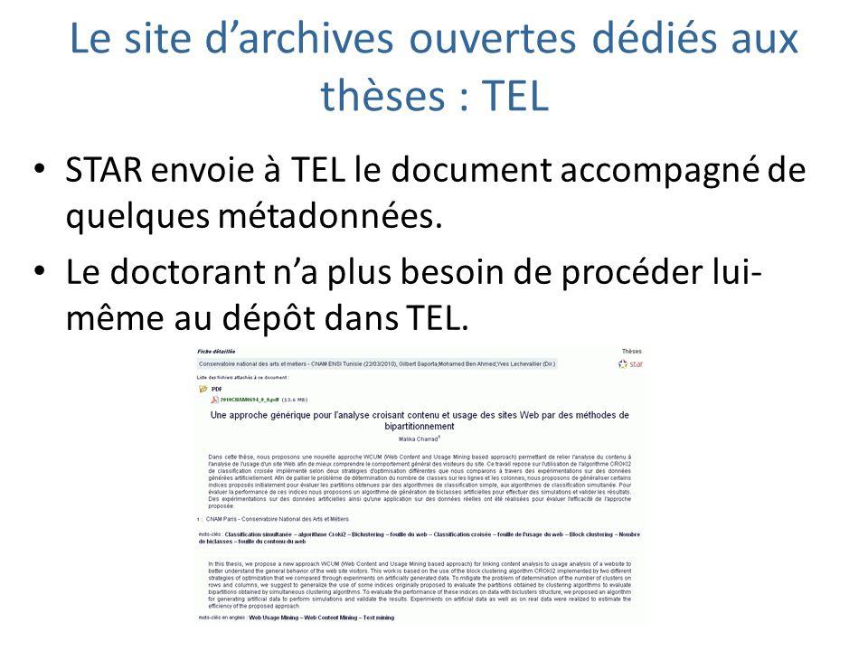 Le site darchives ouvertes dédiés aux thèses : TEL STAR envoie à TEL le document accompagné de quelques métadonnées. Le doctorant na plus besoin de pr
