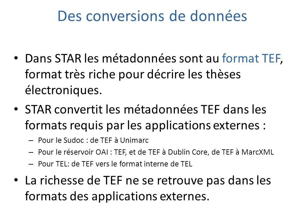 Des conversions de données Dans STAR les métadonnées sont au format TEF, format très riche pour décrire les thèses électroniques. STAR convertit les m