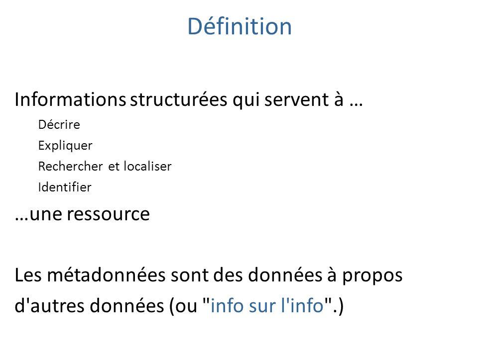 Définition Informations structurées qui servent à … Décrire Expliquer Rechercher et localiser Identifier …une ressource Les métadonnées sont des donné
