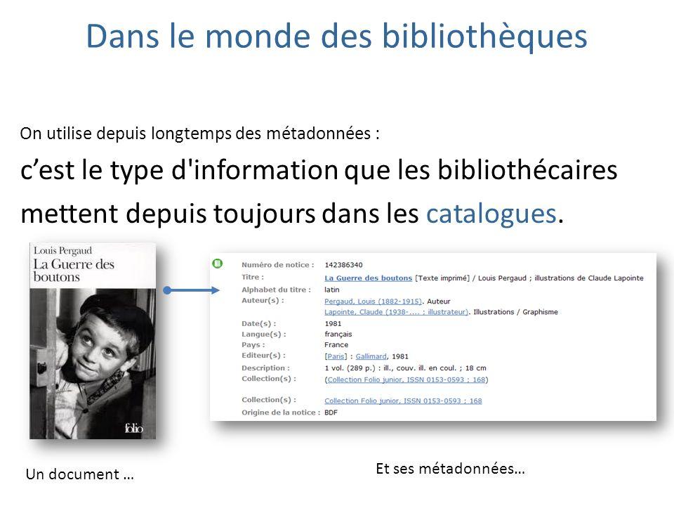 Dans le monde des bibliothèques On utilise depuis longtemps des métadonnées : cest le type d'information que les bibliothécaires mettent depuis toujou