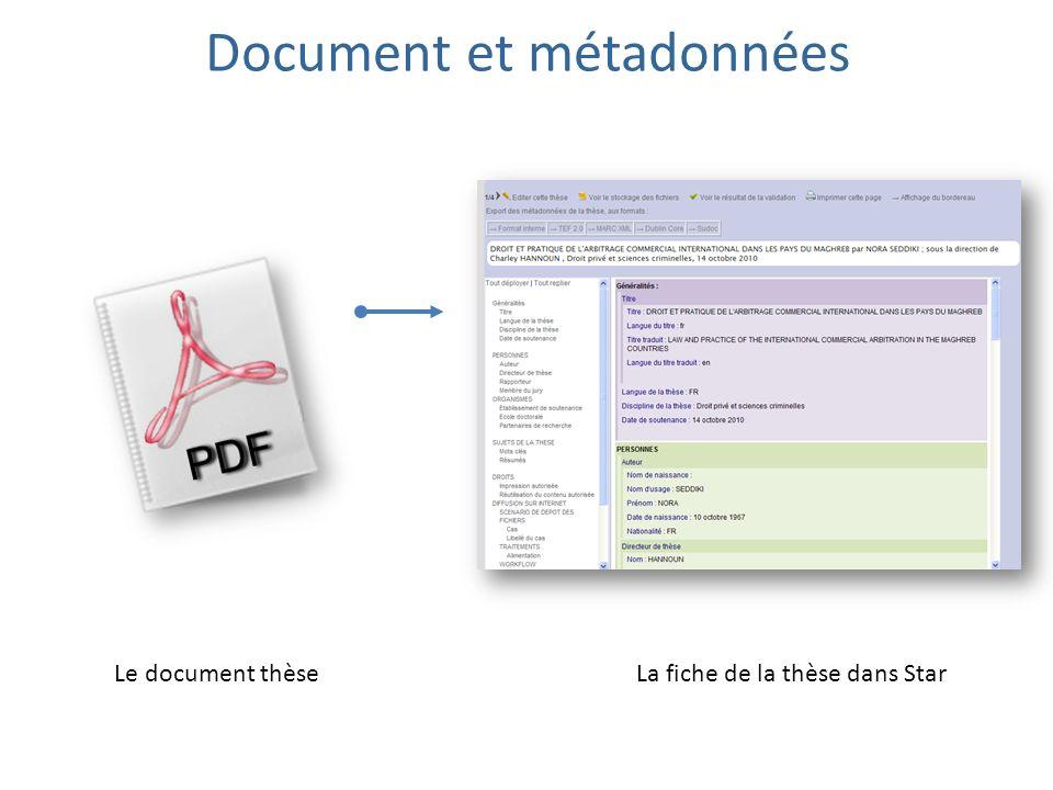 Document et métadonnées Le document thèseLa fiche de la thèse dans Star