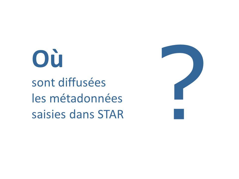 Où sont diffusées les métadonnées saisies dans STAR ?