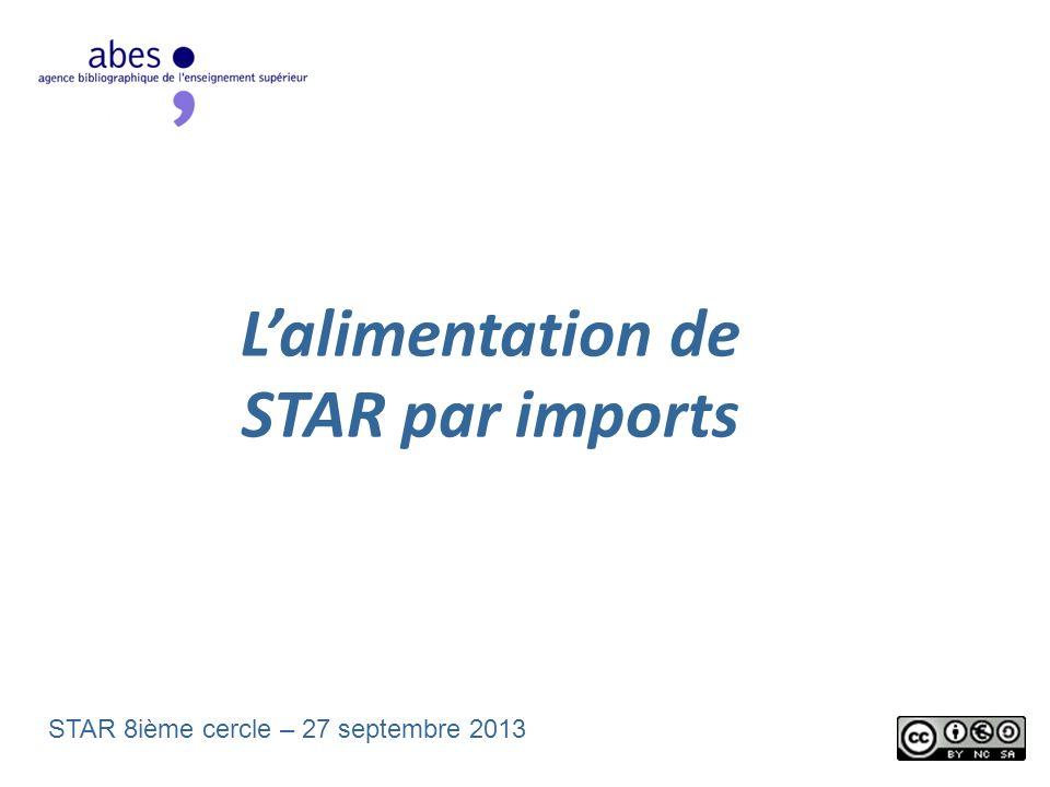 Lalimentation de STAR par imports STAR 8ième cercle – 27 septembre 2013