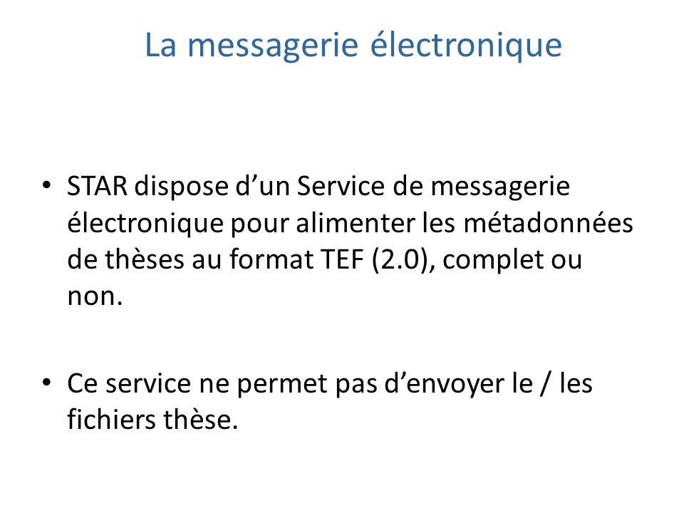 STAR dispose dun Service de messagerie électronique pour alimenter les métadonnées de thèses au format TEF (2.0), complet ou non.