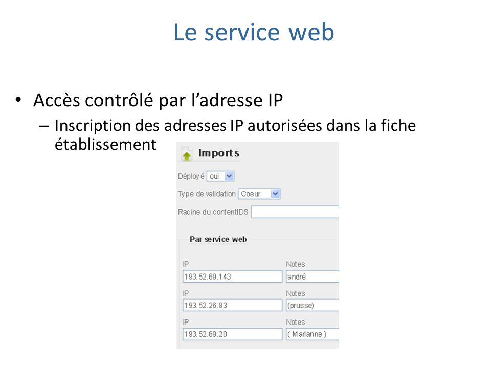 Accès contrôlé par ladresse IP – Inscription des adresses IP autorisées dans la fiche établissement Le service web