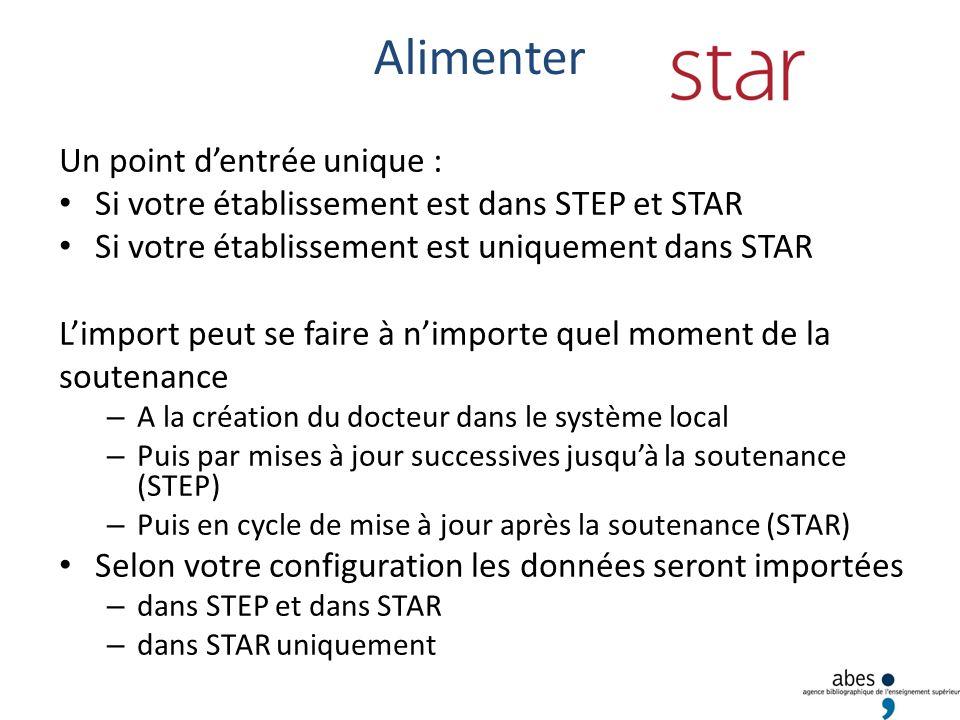 Alimenter Un point dentrée unique : Si votre établissement est dans STEP et STAR Si votre établissement est uniquement dans STAR Limport peut se faire à nimporte quel moment de la soutenance – A la création du docteur dans le système local – Puis par mises à jour successives jusquà la soutenance (STEP) – Puis en cycle de mise à jour après la soutenance (STAR) Selon votre configuration les données seront importées – dans STEP et dans STAR – dans STAR uniquement