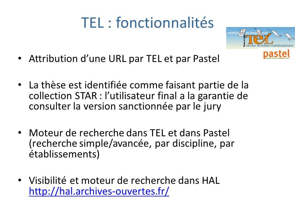 TEL : fonctionnalités Attribution dune URL par TEL et par Pastel La thèse est identifiée comme faisant partie de la collection STAR : lutilisateur fin