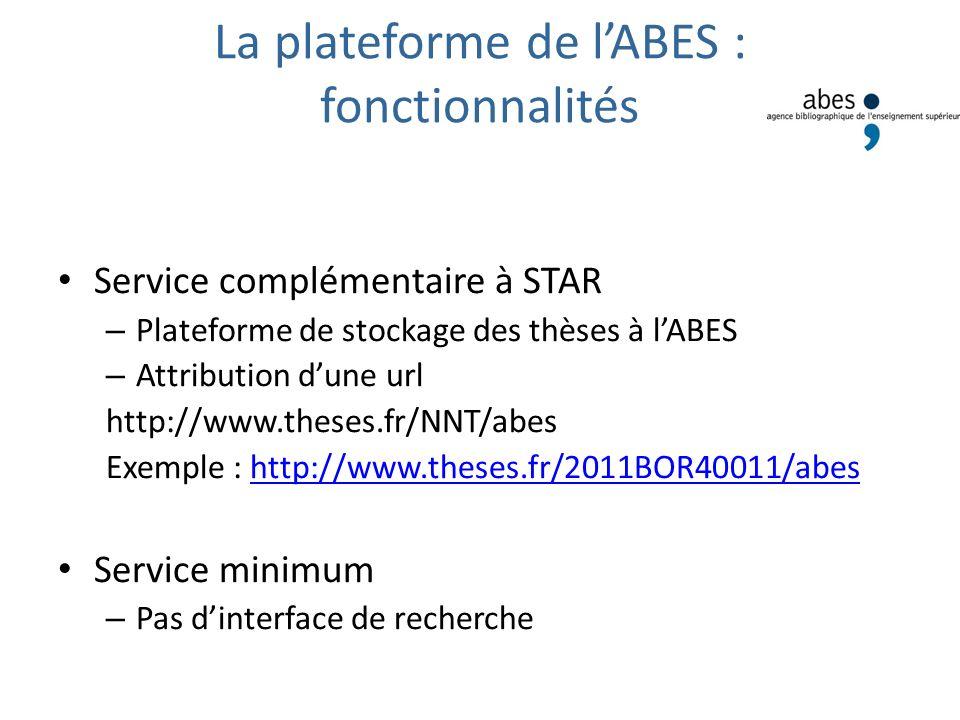 La plateforme de lABES : fonctionnalités Service complémentaire à STAR – Plateforme de stockage des thèses à lABES – Attribution dune url http://www.t