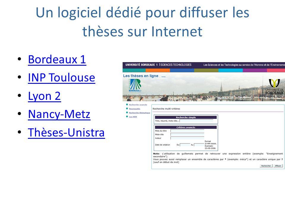 Un logiciel dédié pour diffuser les thèses sur Internet Bordeaux 1 INP Toulouse Lyon 2 Nancy-Metz Thèses-Unistra