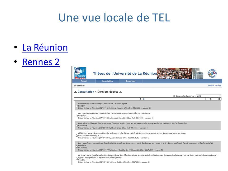 Une vue locale de TEL La Réunion Rennes 2