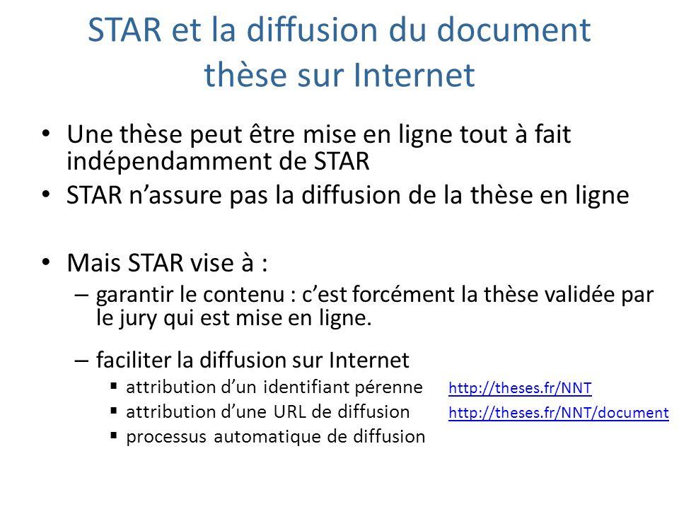 STAR et la diffusion du document thèse sur Internet Une thèse peut être mise en ligne tout à fait indépendamment de STAR STAR nassure pas la diffusion