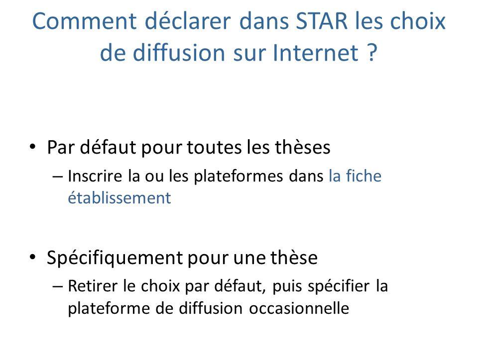 Comment déclarer dans STAR les choix de diffusion sur Internet ? Par défaut pour toutes les thèses – Inscrire la ou les plateformes dans la fiche étab