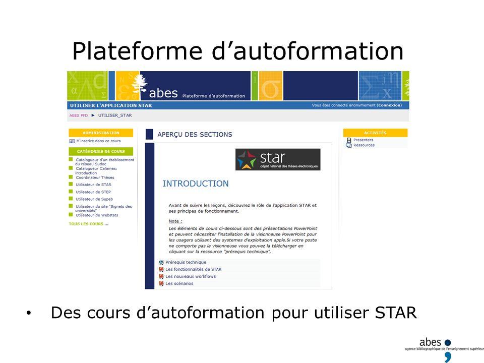 Plateforme dautoformation Des cours dautoformation pour utiliser STAR