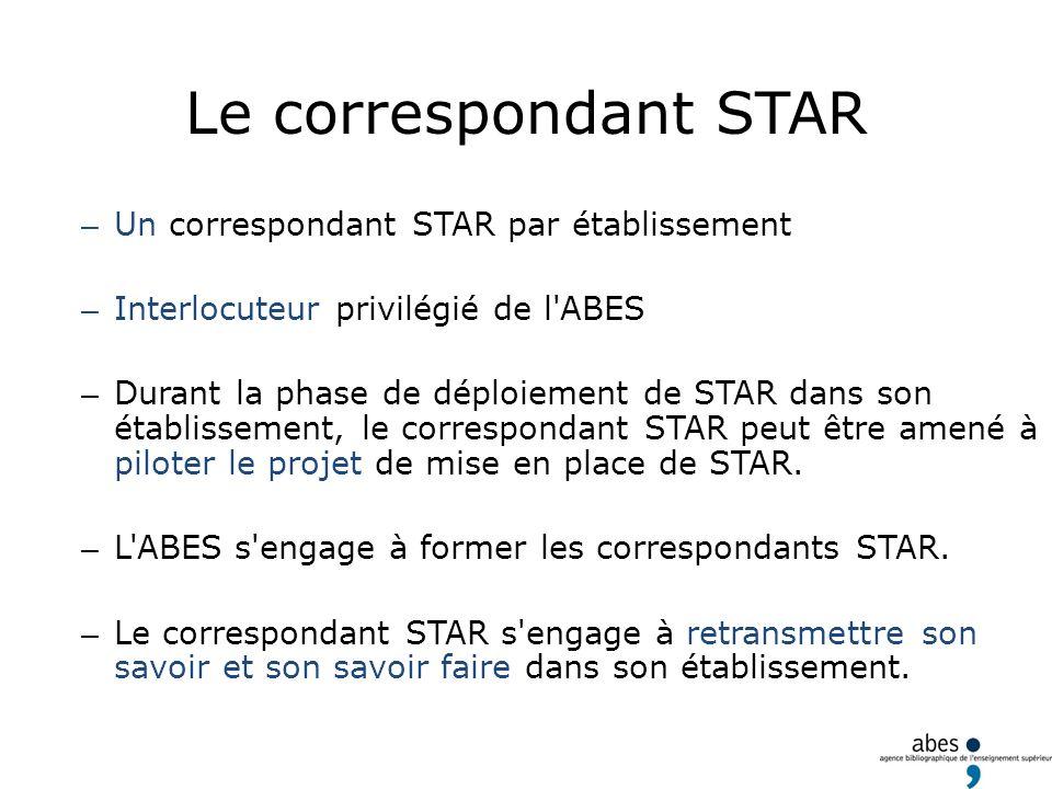 Le correspondant STAR – Un correspondant STAR par établissement – Interlocuteur privilégié de l'ABES – Durant la phase de déploiement de STAR dans son