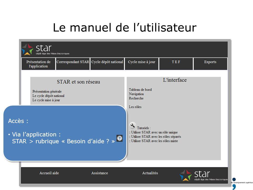 Le manuel de lutilisateur Accès : Via lapplication : STAR > rubrique « Besoin daide ? » Accès : Via lapplication : STAR > rubrique « Besoin daide ? »