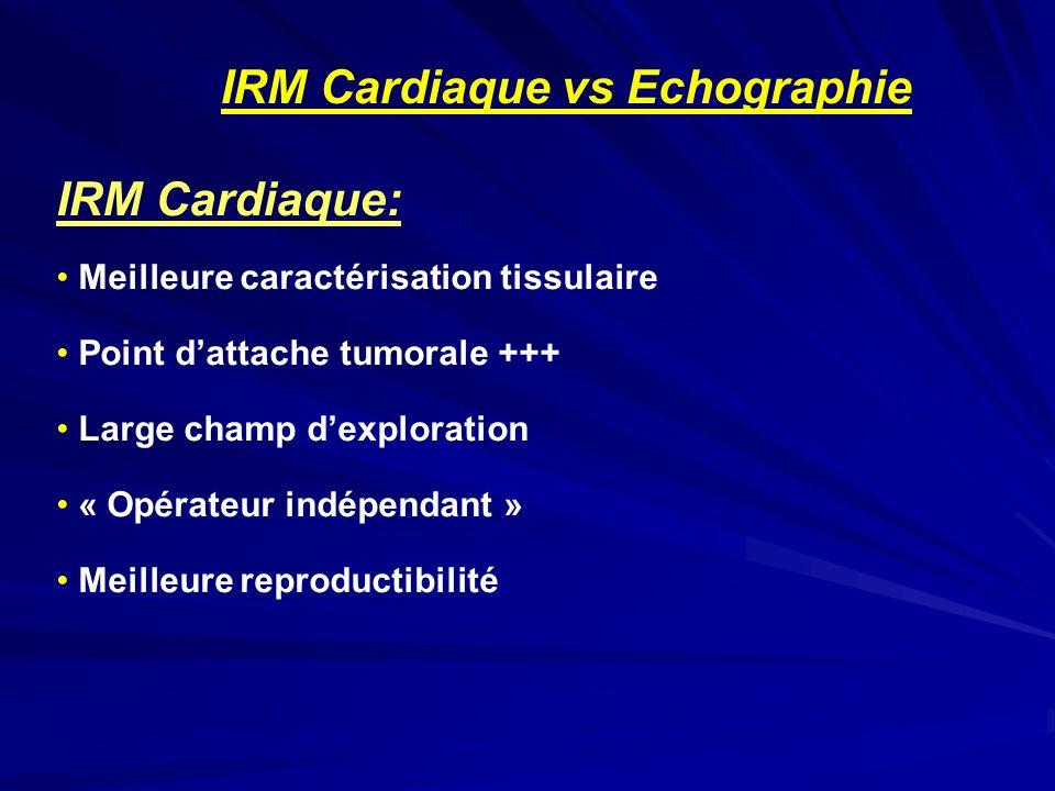 IRM Cardiaque vs Echographie IRM Cardiaque: Meilleure caractérisation tissulaire Point dattache tumorale +++ Large champ dexploration « Opérateur indé