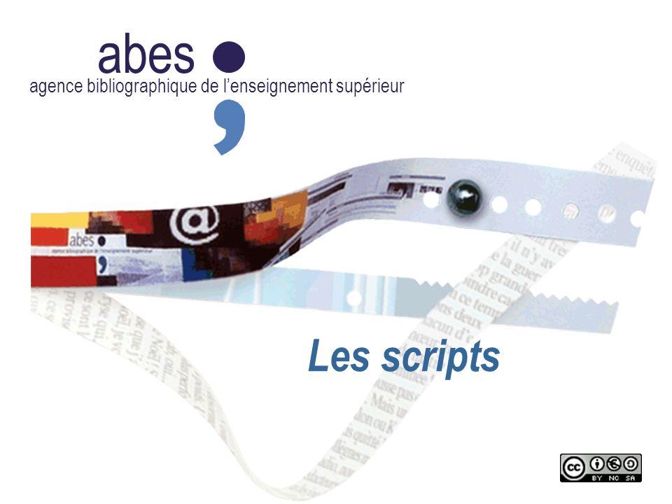 abes agence bibliographique de lenseignement supérieur Les scripts