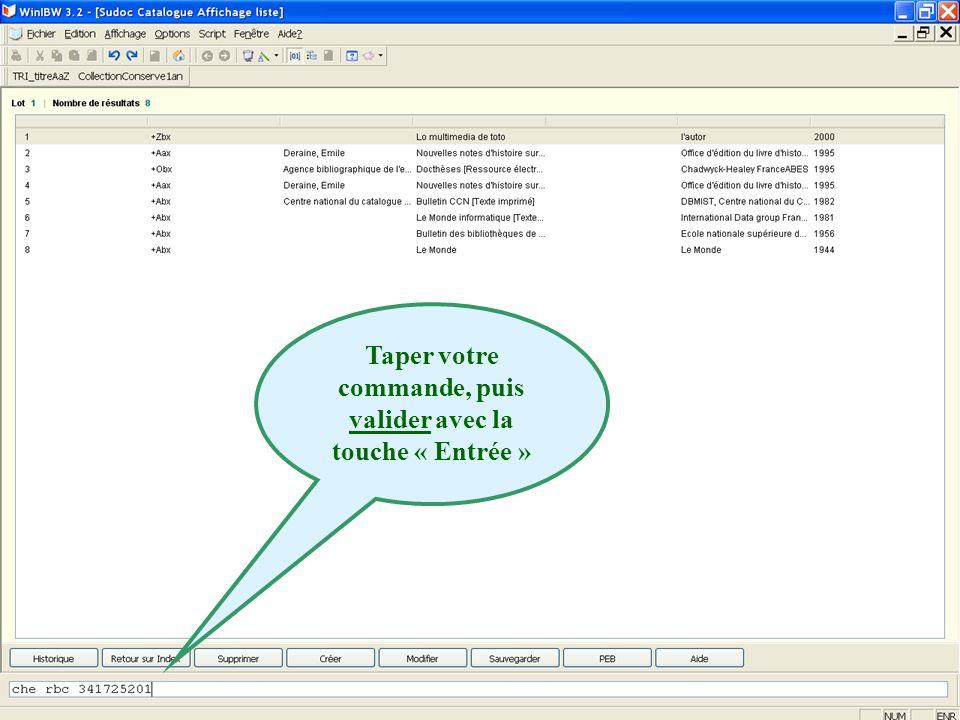 2011 abes agence bibliographique de lenseignement supérieur Taper votre commande, puis valider avec la touche « Entrée »