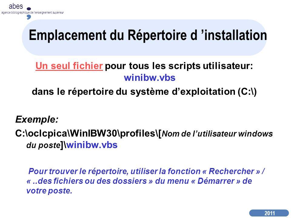 2011 abes agence bibliographique de lenseignement supérieur Emplacement du Répertoire d installation Un seul fichier pour tous les scripts utilisateur: winibw.vbs dans le répertoire du système dexploitation (C:\) Exemple: C:\oclcpica\WinIBW30\profiles\[ Nom de lutilisateur windows du poste ]\winibw.vbs Pour trouver le répertoire, utiliser la fonction « Rechercher » / «..des fichiers ou des dossiers » du menu « Démarrer » de votre poste.