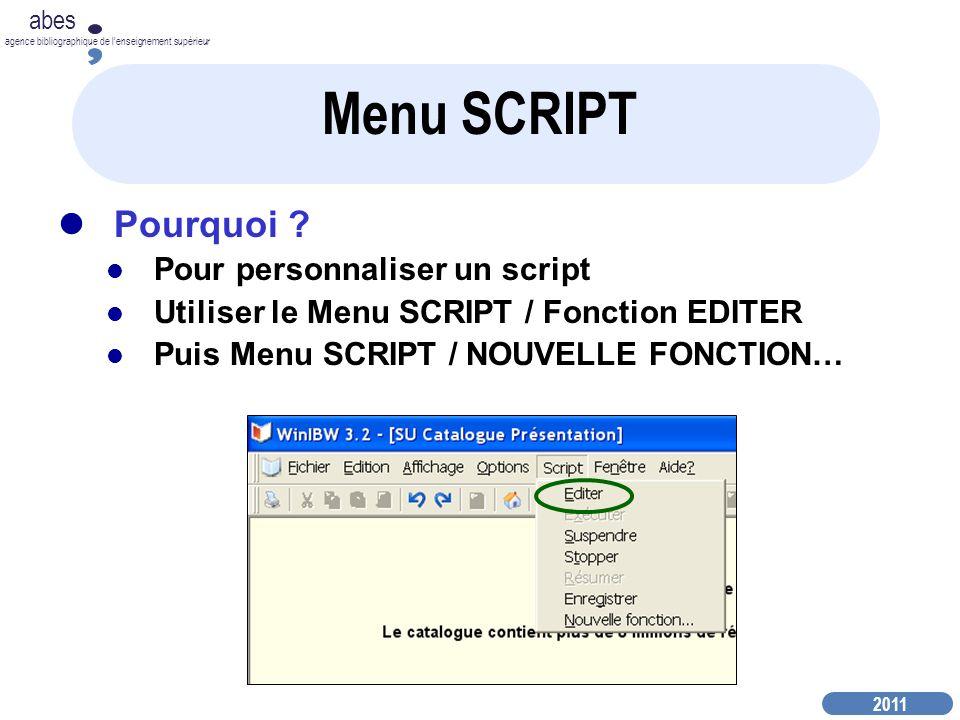 2011 abes agence bibliographique de lenseignement supérieur Menu SCRIPT Pourquoi .